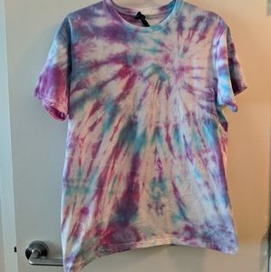 Hand tie dye shirt pink purple and blue